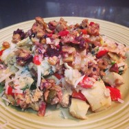 Greek Egg Scramble with artichoke hearts, olive tapenade, parmesan, onions and peppers.