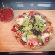 Quick GF Pizza on Brown Rice Tortilla